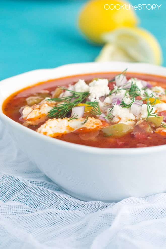 Fish Soup with Greek Toppings