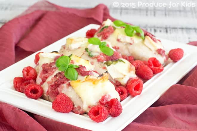 Baked Chicken Breasts with Brie and Raspberries
