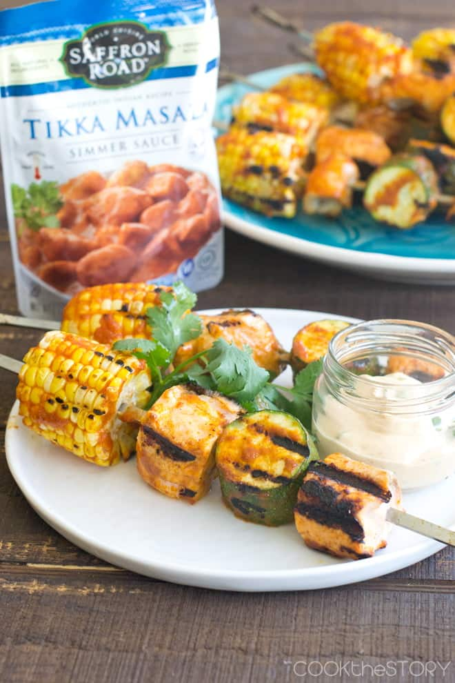 Grilled Corn, Zucchini and Salmon Skewers with Tikka Masala Sauce