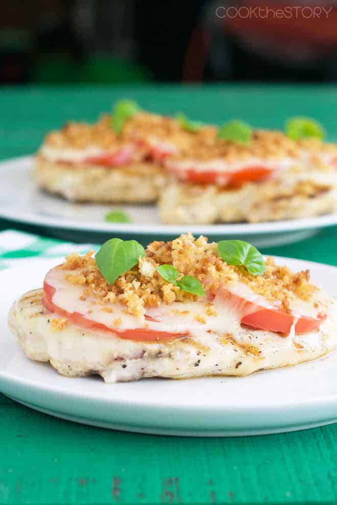 Grilled Chicken with Mozzarella, Tomato and Basil