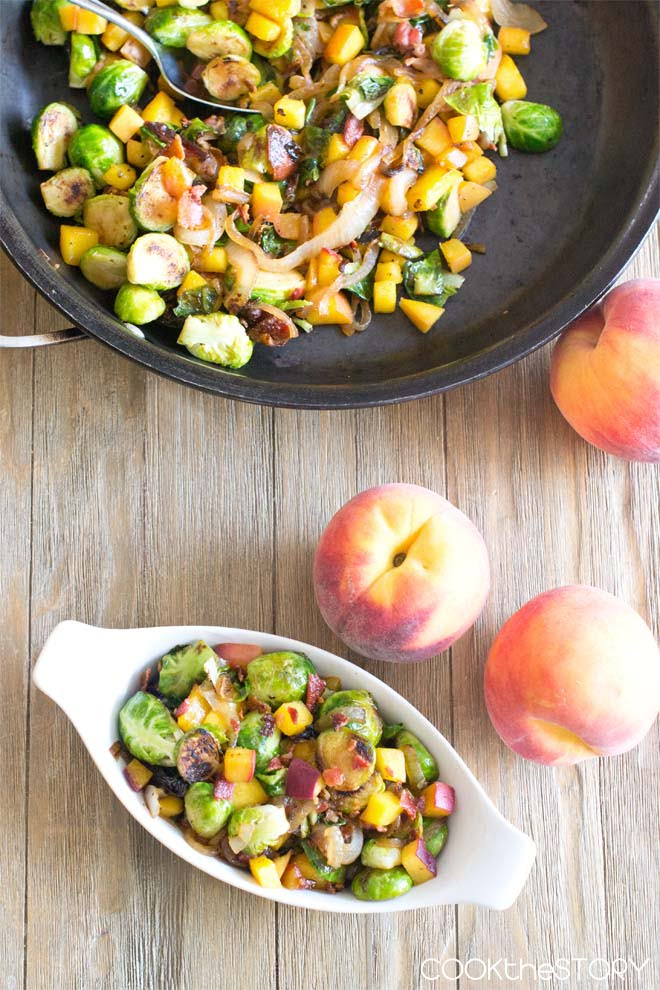 Brussels Sprouts with Peaches and Bacon Side Dish